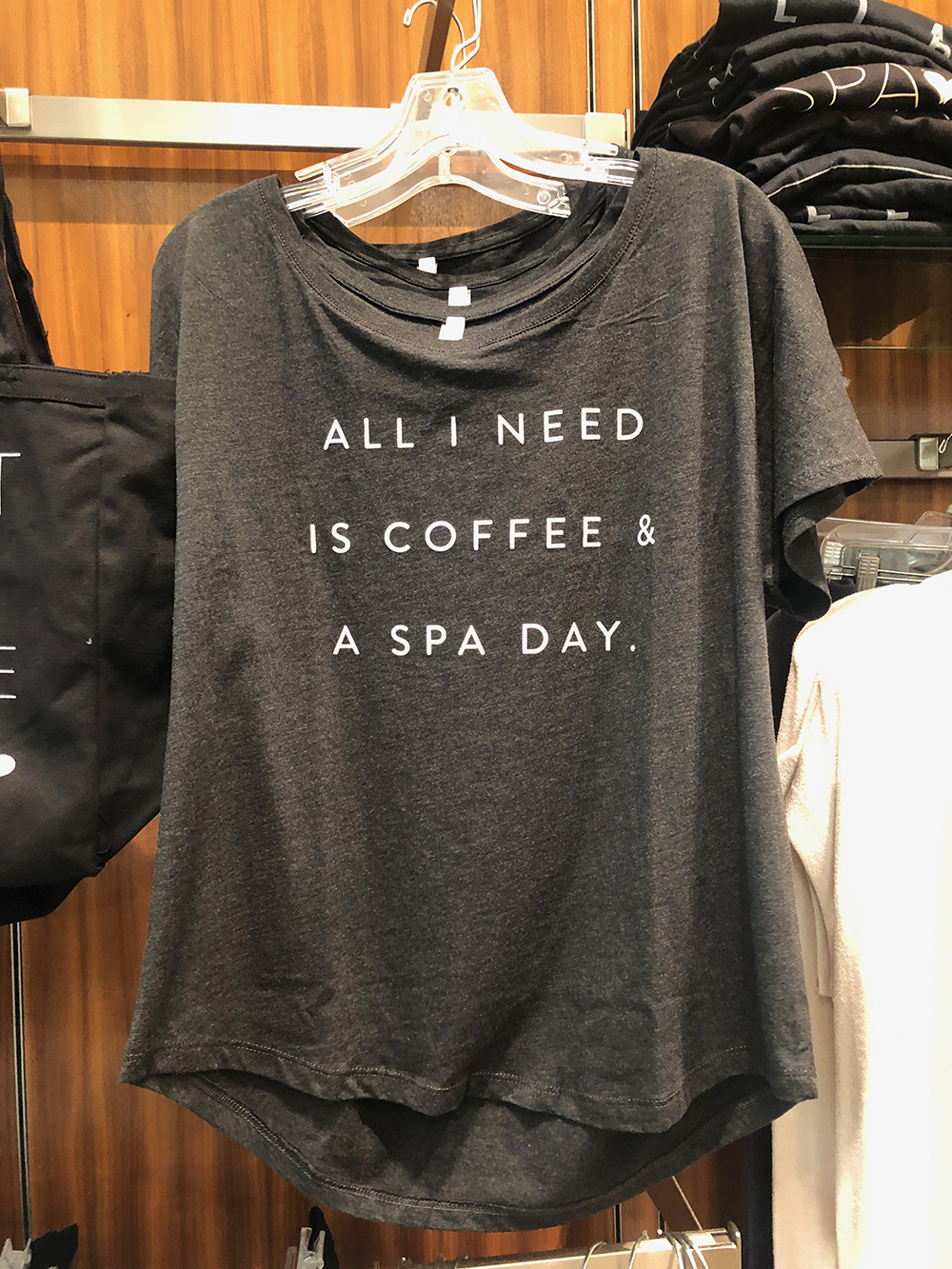 The Spa's retail area sells a variety of great skin care and beauty brands, including fun items like this cute T-shirt that is perfect for any spa lover.