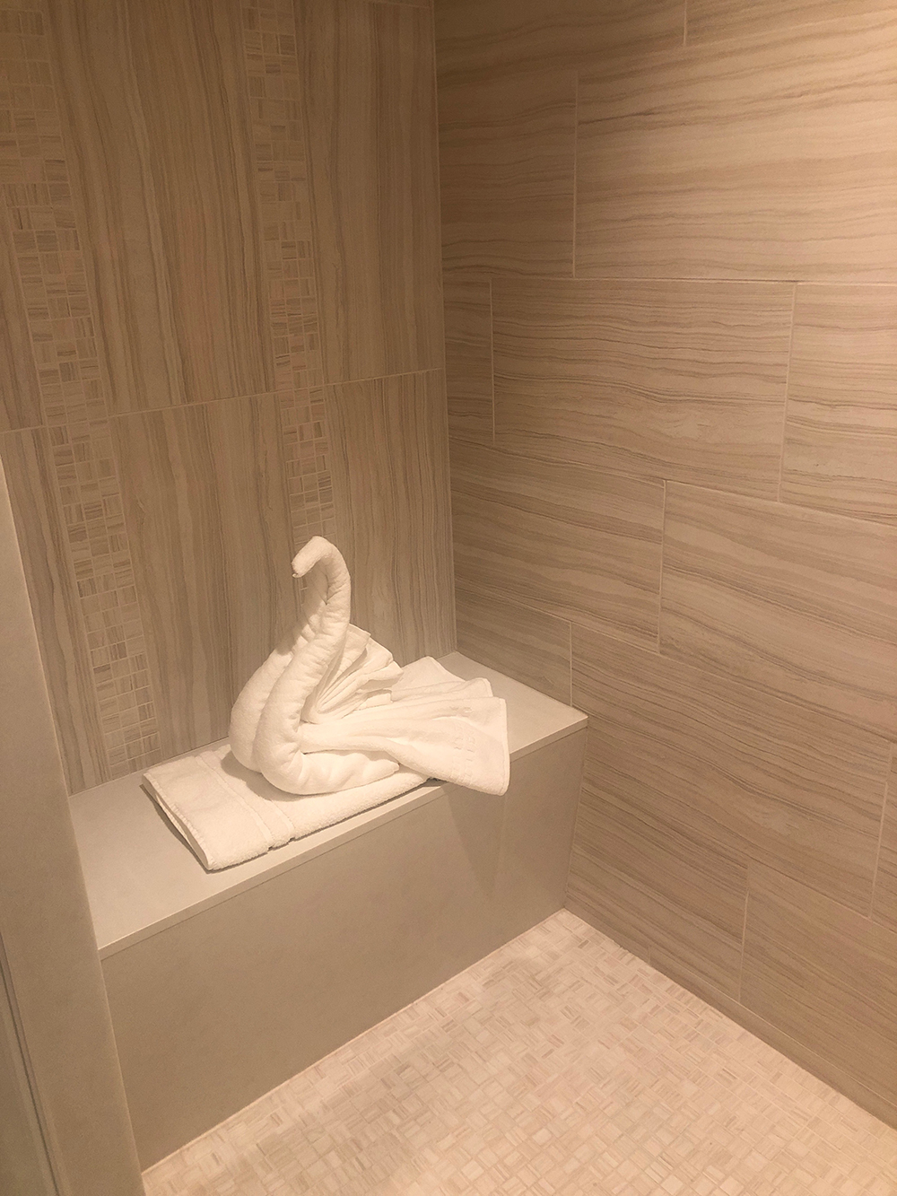 A beautifully folded towel swan awaited in shower of our room at the resort.