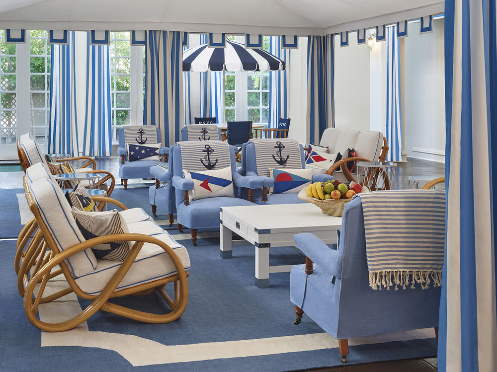 The charming nautical-themed lounge at Palm Springs Yacht Club.