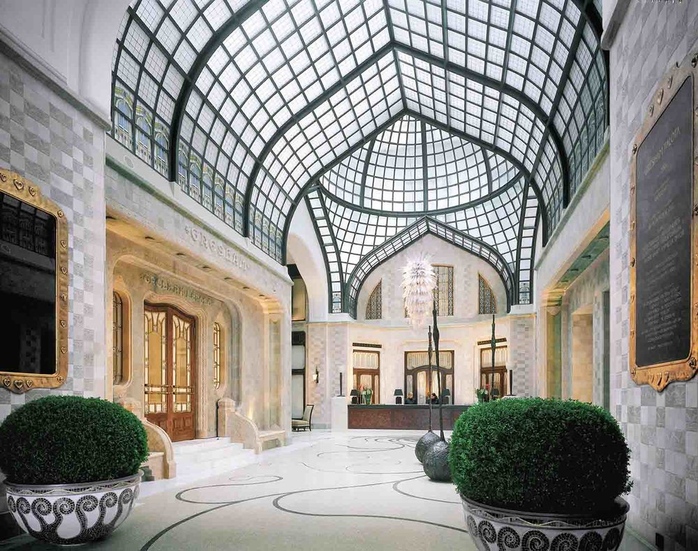 The stunning lobby and reception area of the hotel.