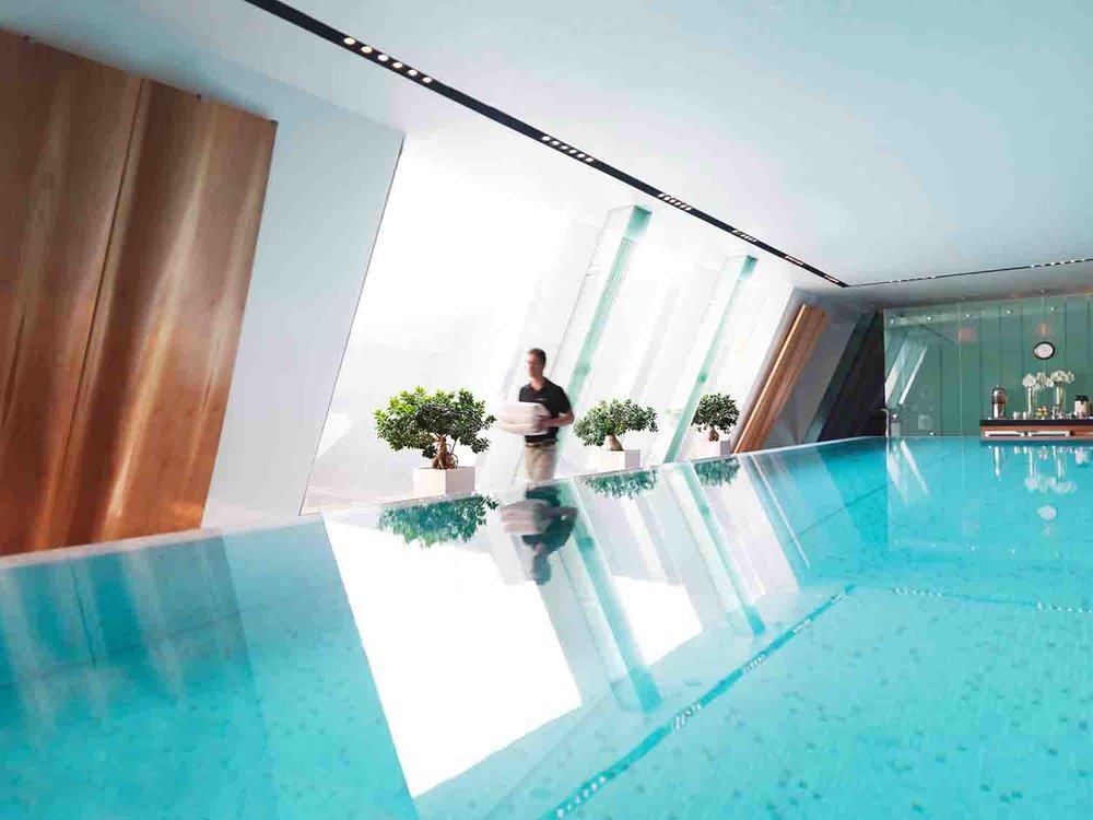 The Spa's indoor infinity-edge salt water pool.