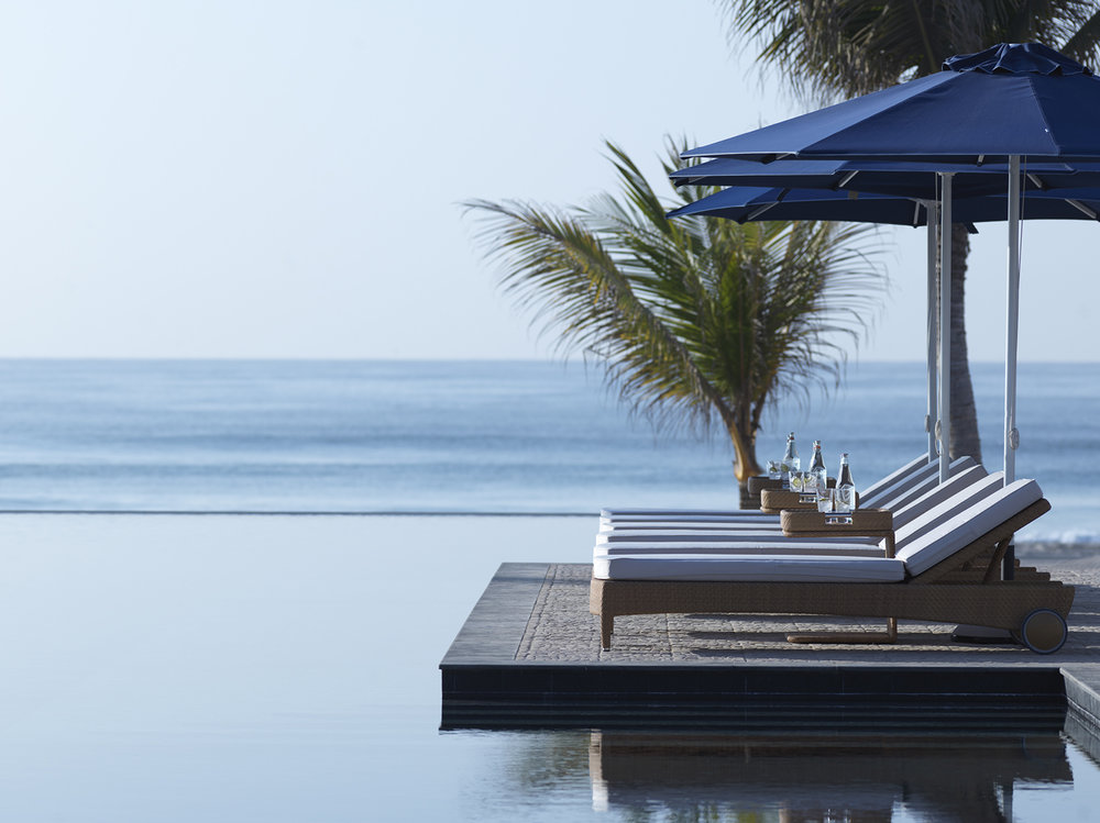 The luxury resort is nestled between a private beach and freshwater lagoon.