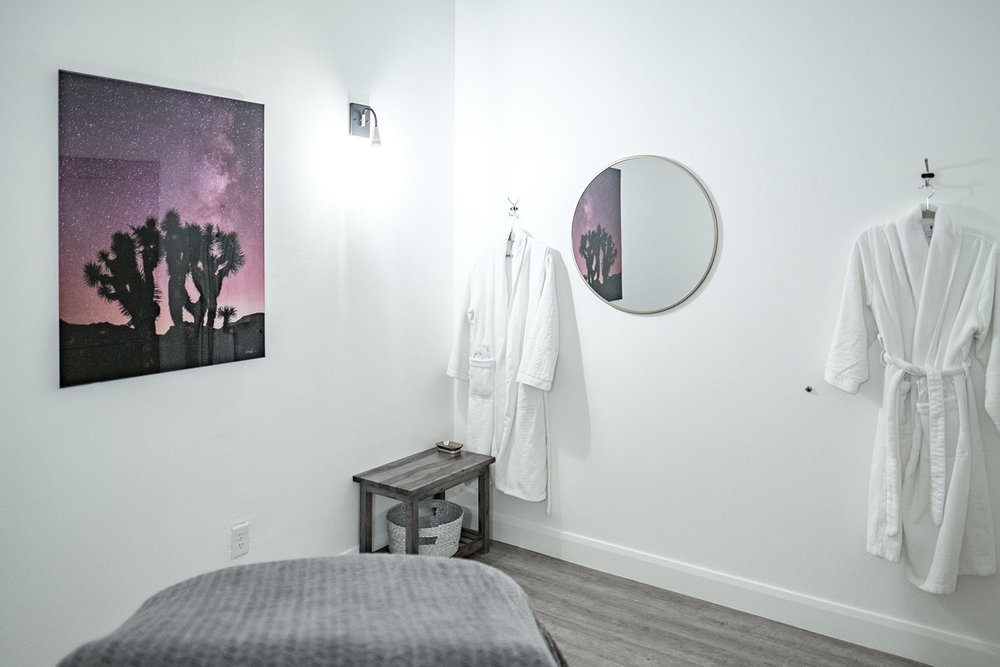 One of the stylishly appointed treatment rooms.