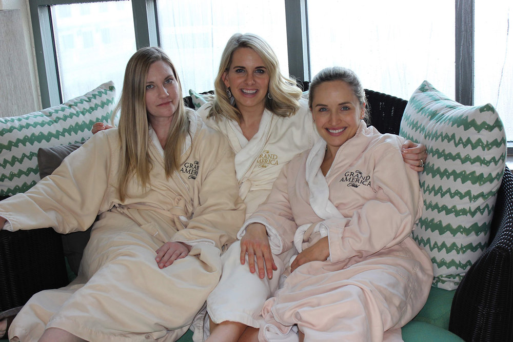 Lounging poolside in comfortable spa robes.