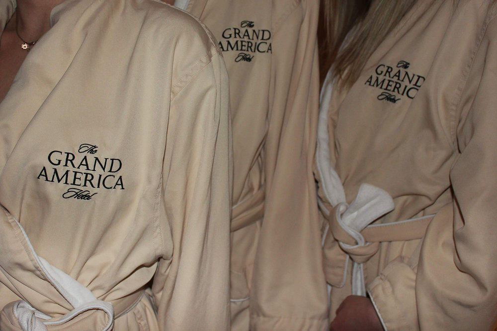 Adorning spa robes all day and all night.