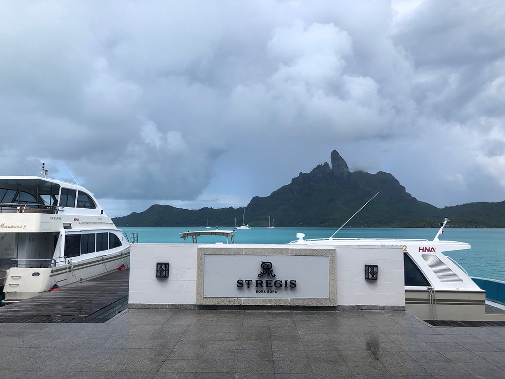 The St. Regis Bora Bora Resort's main boat dock.