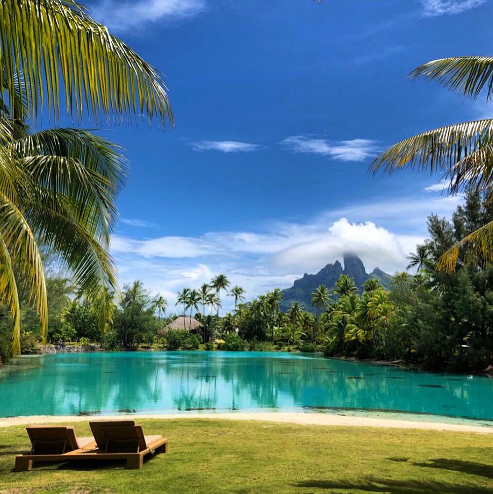 The resort's private saltwater lagoonarium offers stunning views of Mount Otemanu.