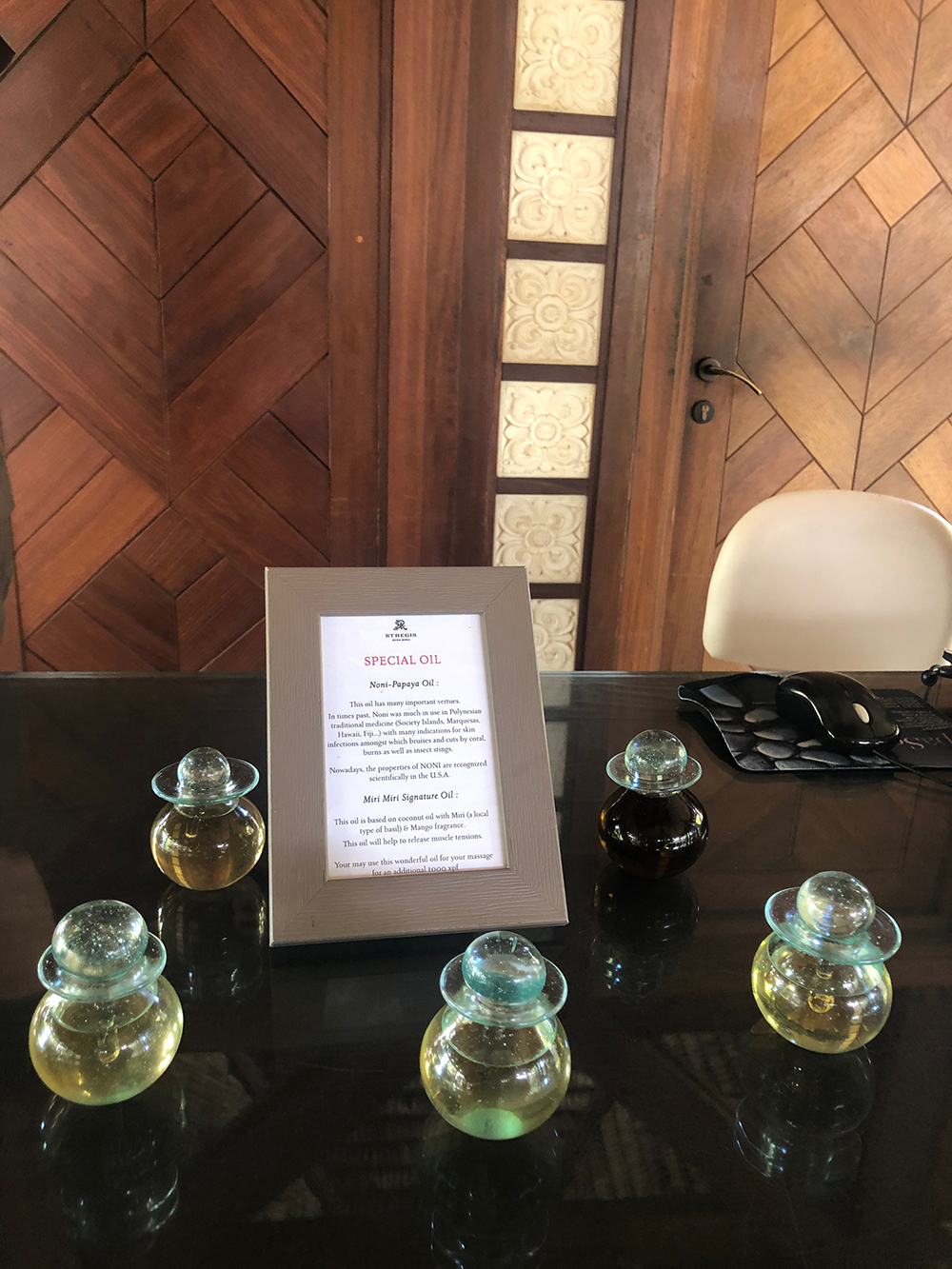 The spa also offered us our choice of oils to use in our treatment.