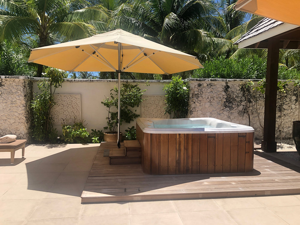 The women's lounge also includes a private Jacuzzi.