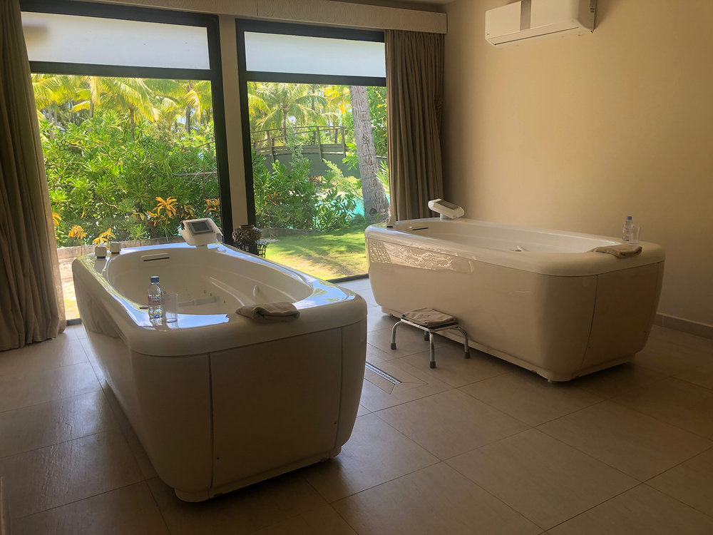 The spa also offers balneotherapy, where bubbling water brushes and massages the body with essential oils.