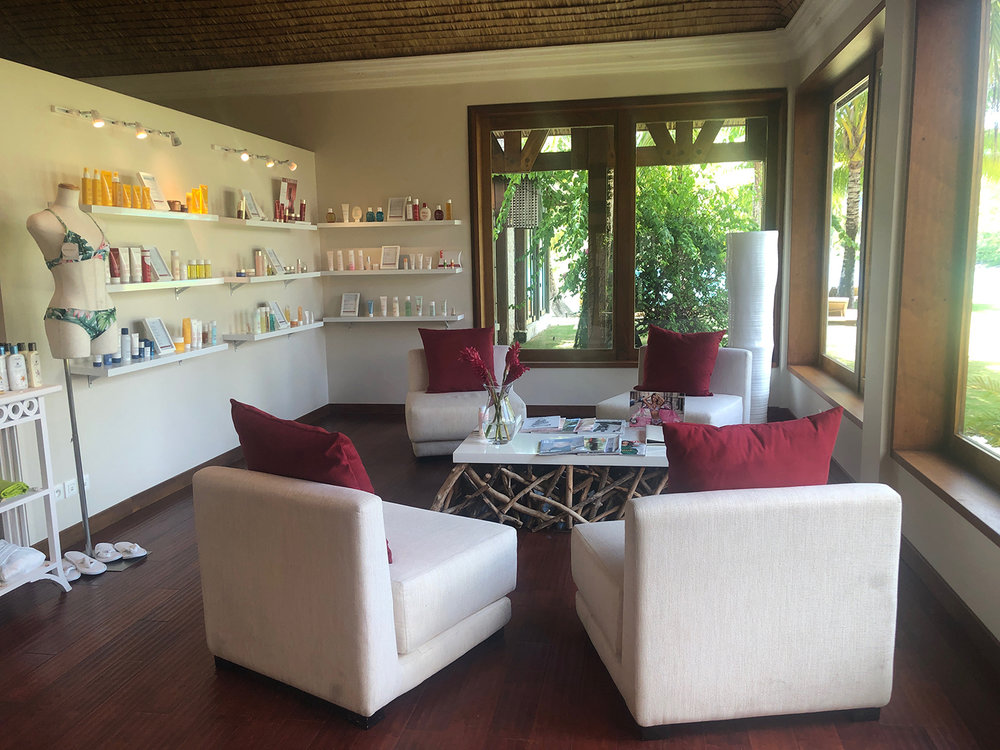 The retail shop includes a vast selection of Clarins products and St. Regis skin care.