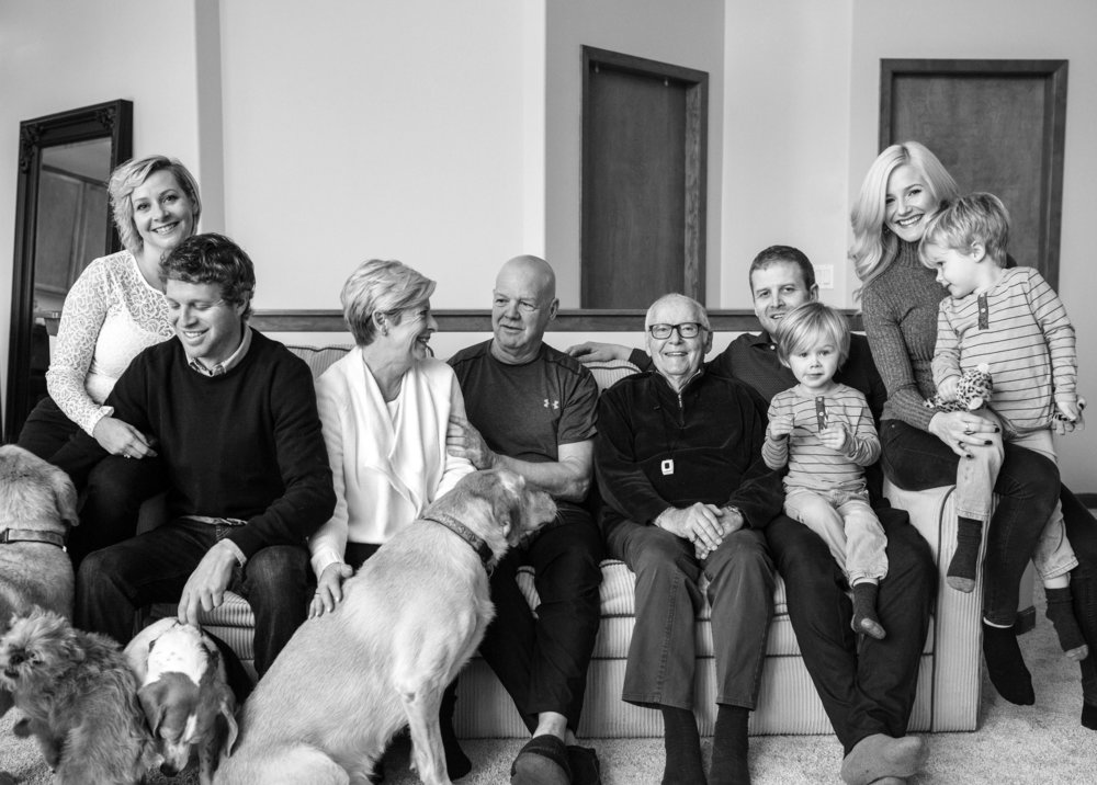 left to right (diana, dave, shan, paul, grandpa dave, michael w/ son scott, chantal w/ son levi)