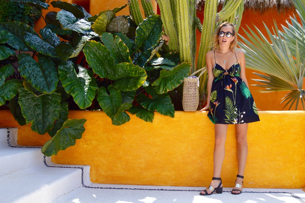Dress:  Zara  // Sunglasses:  Illesteva  // Shoes:  Zara  // Bathing Suit:  Kiini Swim  // Blue tooth Necklace:  Indie Republic Design  // Hat: From Mexico—Similar Style  Here