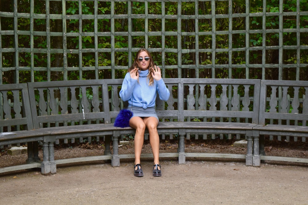 Sweater:  Primark  // Dress:  TopShop  // Shoes: Bought on the streets in Camden London // Purse:  Topshop  // Sunglasses:  Warby Parker