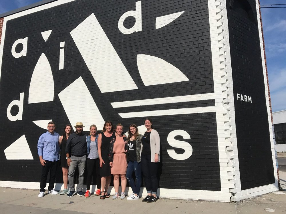 Afdhel with the Adidas Social Responsibility and Business Transformation Teams at the Adidas Brooklyn Farm, New York City.