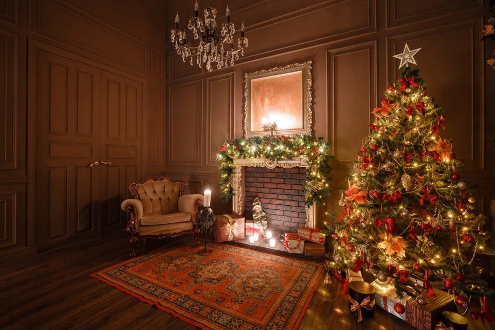 Calm image of interior Classic New Year Tree decorated in