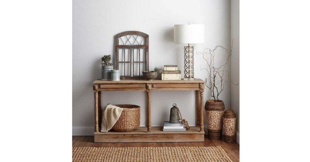 modern farmhouse design rustic element - sideboard & twigs