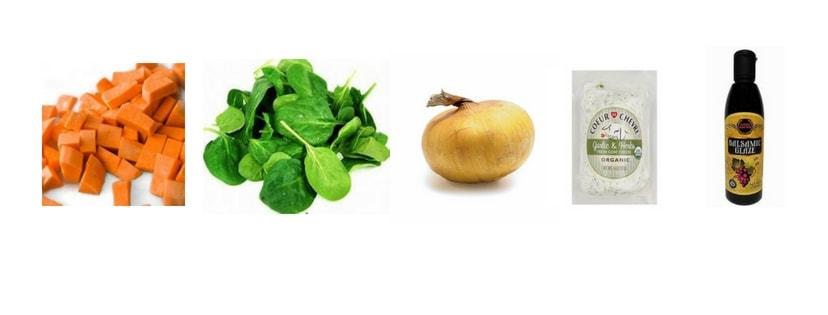 Sweet Potato, Spinach, Vidalia Onon, Herbed Goat Cheese, Balsamic Glaze