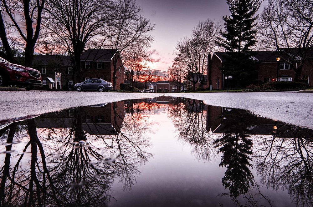 Sunset puddle reflection - same puddle in all 3 pictures