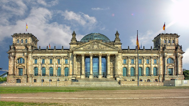 The German Reichstag Parliament Building, as it is today, fully restored
