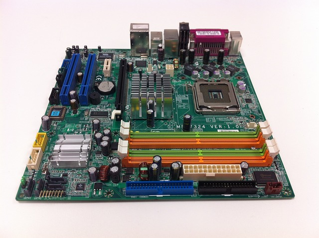 Typical modern computer main system board. Note all the standardized slots and connectors for all the add-on boards and system cables. Photo courtesy of pixabay.com.