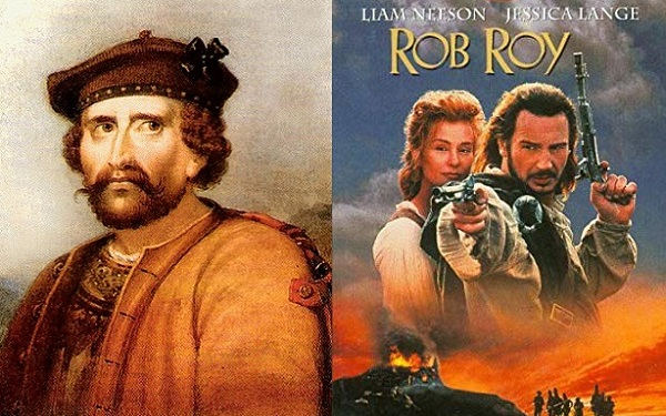 The historic Rob Roy MacGregor (left), and the Hollywood film, starring Liam Neeson as the legendary Rob Roy (right).