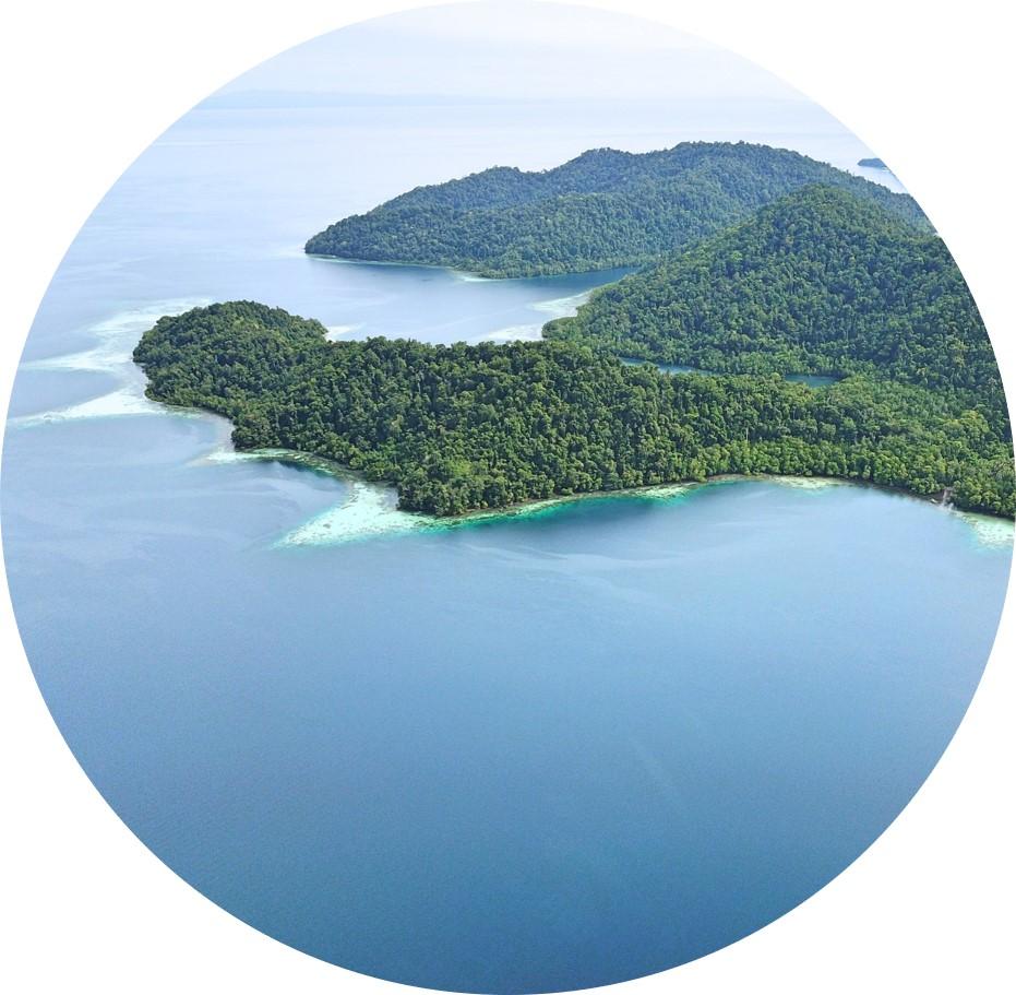 Beautiful island archipelago Raja Ampat in Indonesia - home to the MahaRaja Eco Dive Lodge