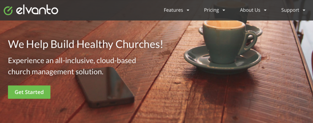 Notice how the website of the old Elvanto has a 'top right quadrant feel' focused on 'healthychurches.
