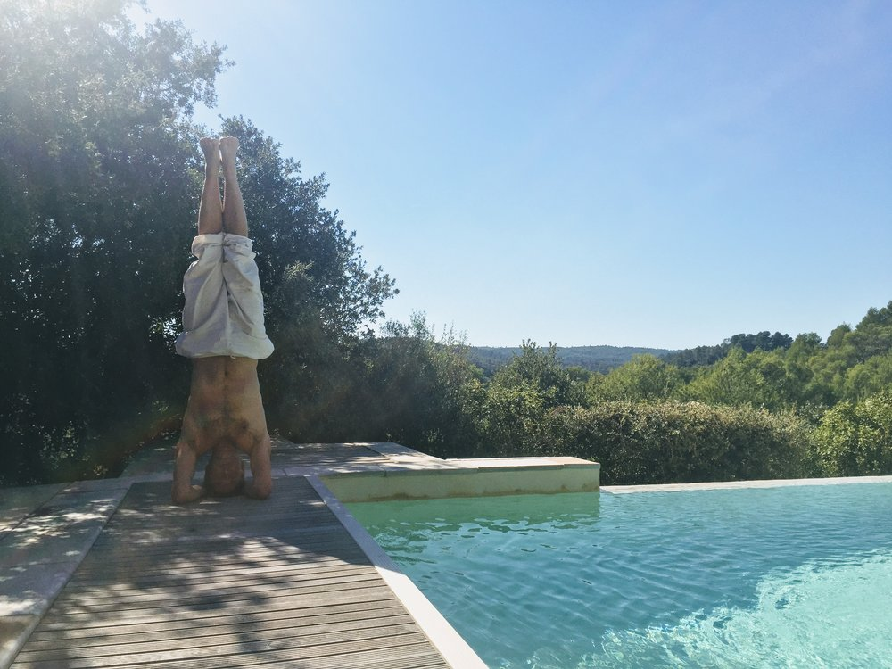 """Headstand in the Provence"""