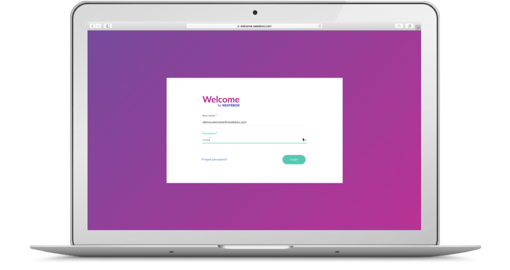Login Screen to Welcome Business Platform. Link to Welcome Business Platform.