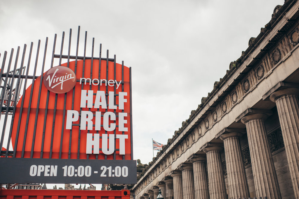 Entrance to Virgin Money Half Price Hut