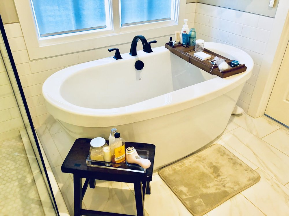 #SkinBabe Nikki Burdine's sanctuary - aka bath tub with some personal favorites: Sleep baths salts by the Mindful Zebra, Dr. Brandt Microdermabrasion, Charlotte Tilbury Goddess Skin mask, Molton Brown bath soak.