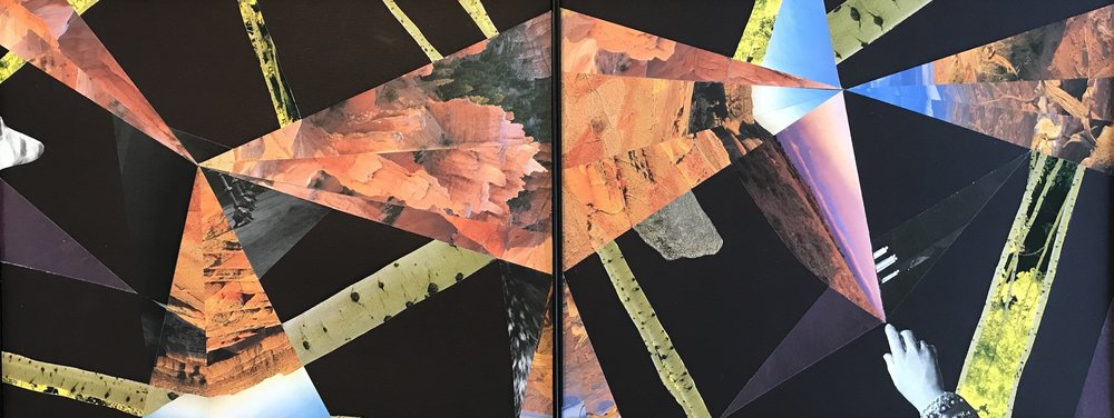 "Collage (Diamond) 11 x 28"" [diptych] 2017"