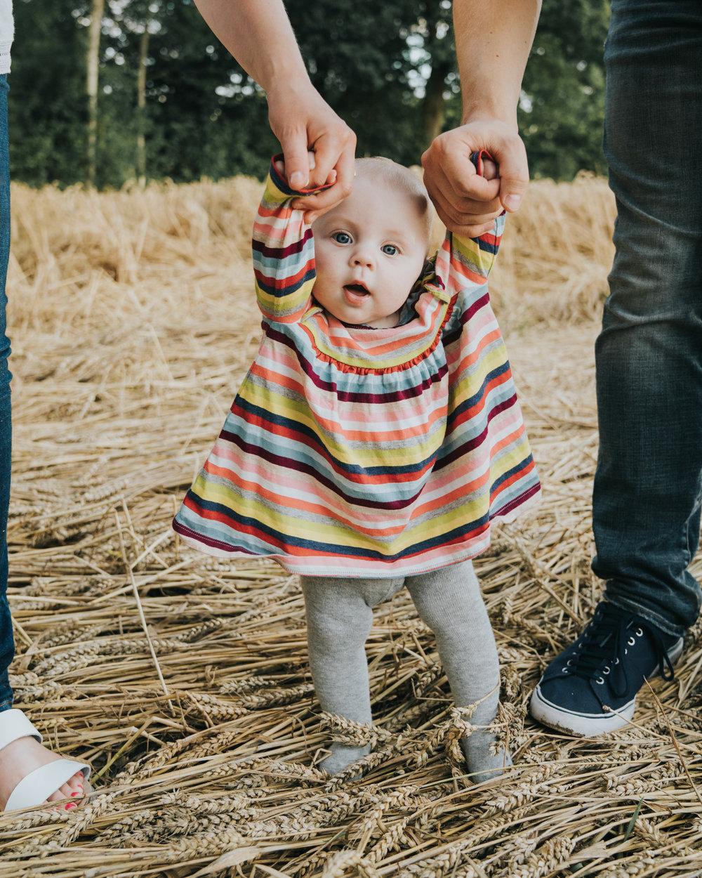 Portrait of a baby in Suffolk field