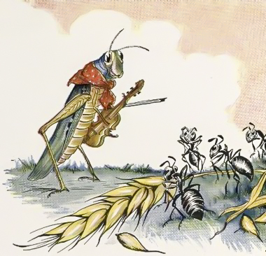The Ant(s) and the Grasshopper - Aesop's fable on preparedness. Illustration by Milo Winter (1919)