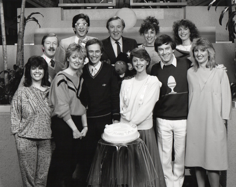 The TV-am team celebrates its second birthday, 1985