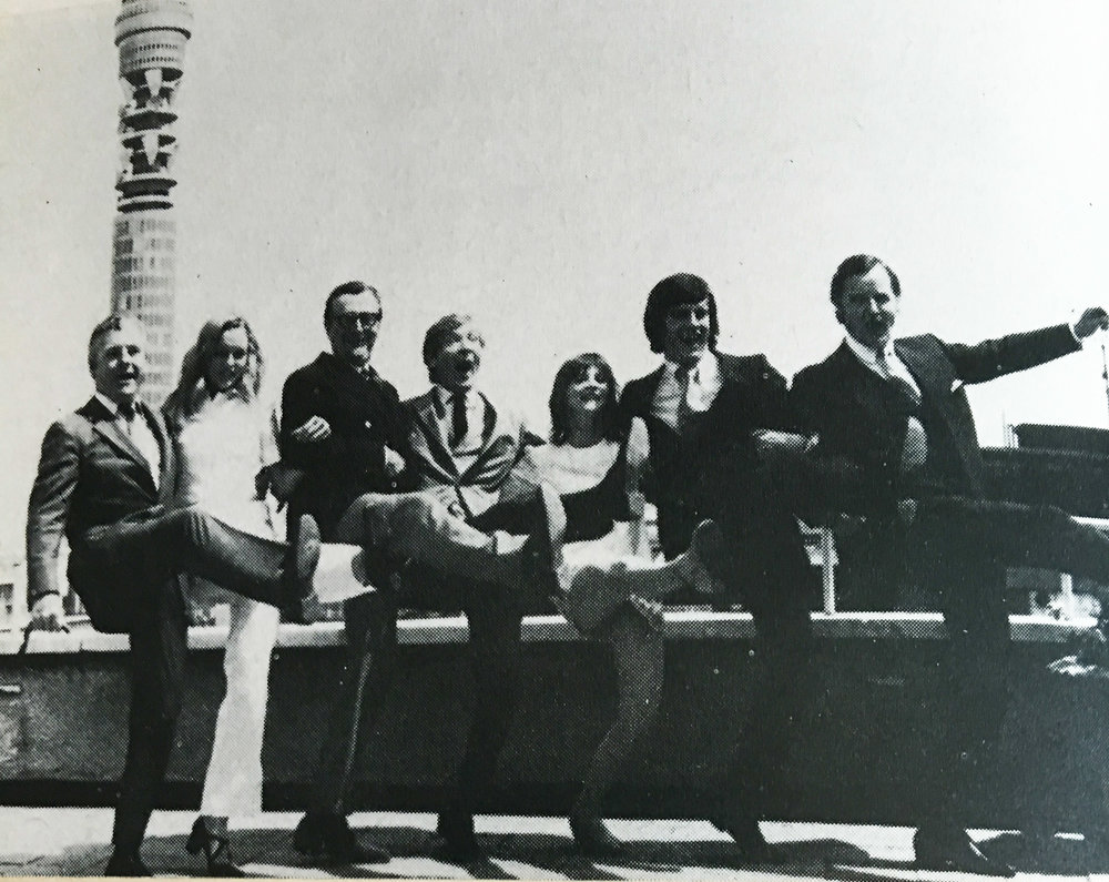 Kenneth More, Lisa Goddard, Cyril Fletcher, Kenneth Williams, Liz Gebhardt, Gyles Brandreth and Nicholas Parsons launching BBC Radio 4's summer season in 1971