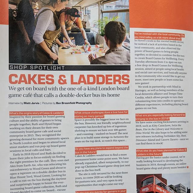 So hyped to be the shop in the spotlight for @tabletop_gaming_magazine this month! 🤩 Think we're still the only board game cafe on a double decker bus 🚌 Co-founder @ruthknox3595 looking fab supervising a particularly intense game of Looping Louie 🛩️😅 Open all day every day in London's #woodgreen for coffee, sandwiches, cake, craft beer, and of course board games! ☕🥙🍰🍺🎲