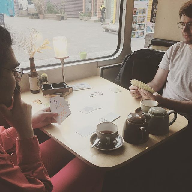 Great Board Games for Wellbeing session on board the bus today! Here is our group enjoying playing #foxintheforest. Drop in for a free board games well-being session every Tuesday 2-4pm - including a free pot of tea! #wellbeing #boardgameslondon #boardgamecafe #londoncafe @bluehouseyard @enjoywoodgreen @hellonorthlondon @north