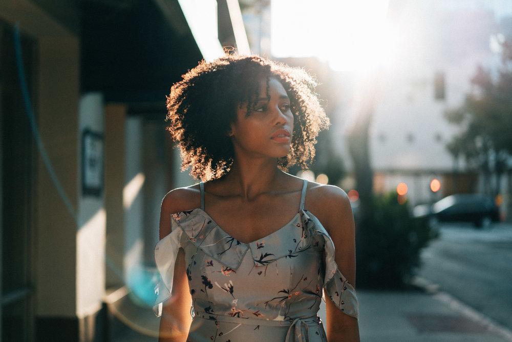 Model Porträt Sonne, Sun, Street