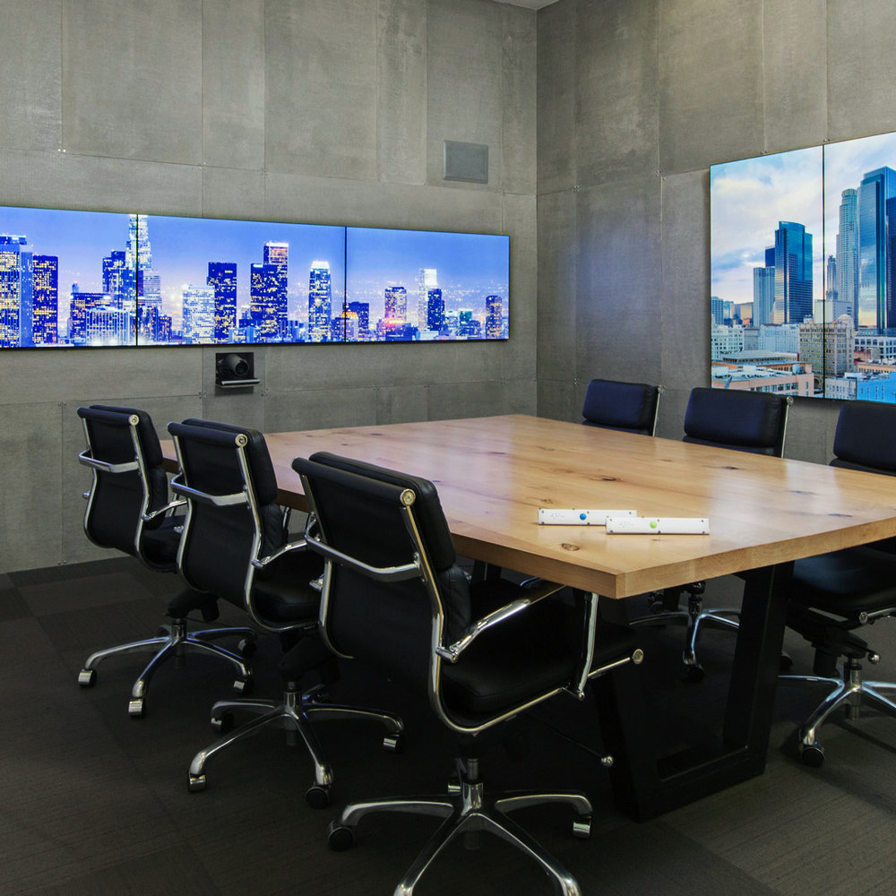 Oblong Conference Room   This conference room of the future uses tech to make tech disappear, designed for multiple users to collaborate collectively and seamlessly across digital platforms.