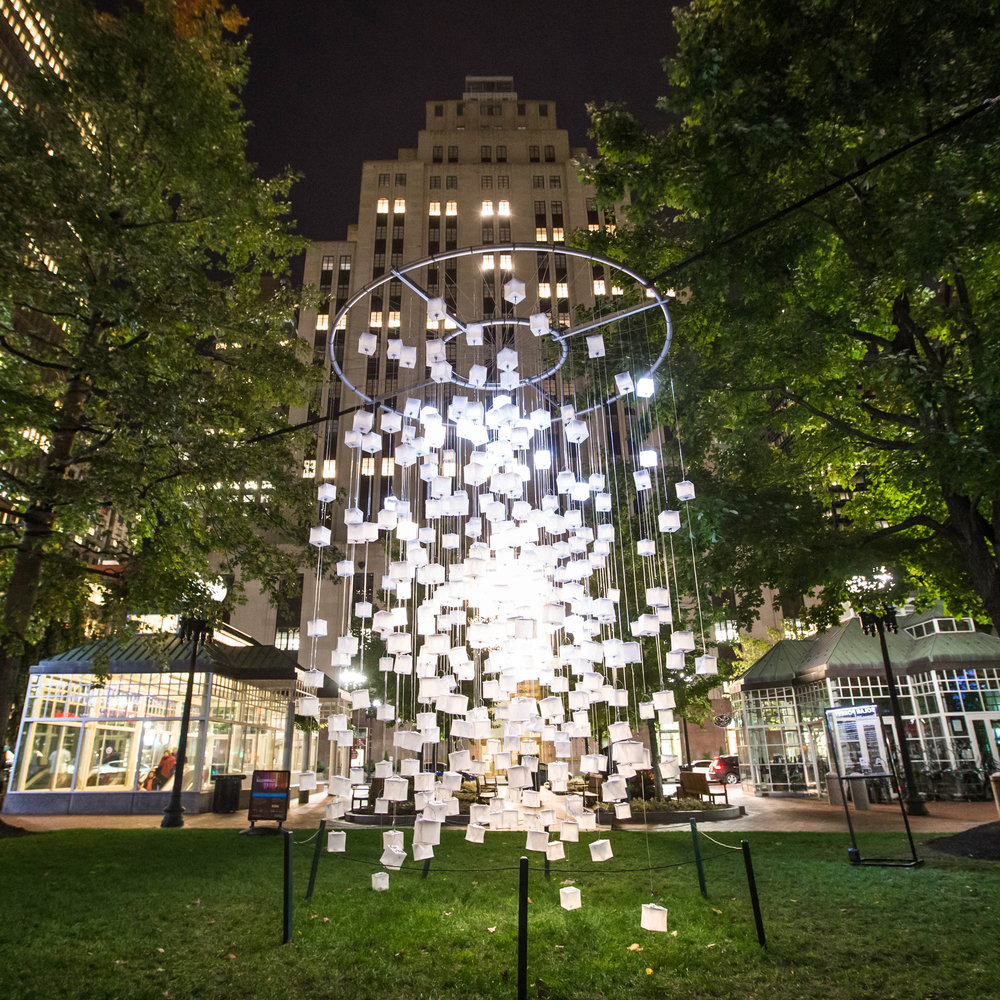 Solar Forest   This artwork is an immersive forest of light cubes powered by the sun. It is for the public to explore and play, day or night, while drawing attention to the global need for clean and affordable light.