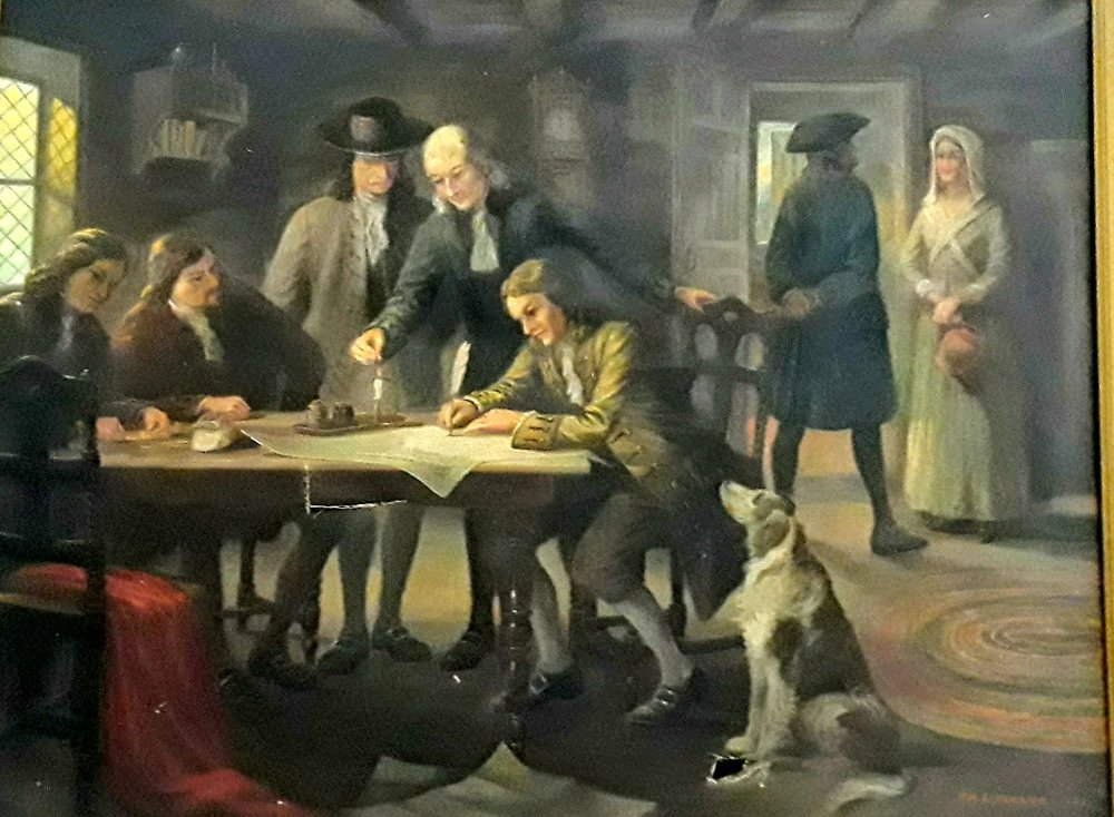 """""""Mahlon Stacy Signing Deed of Property to William Trent"""" by William E. Pedrick"""