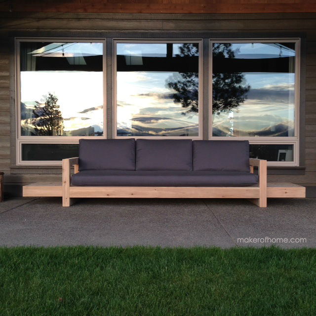 Patio Sofa with Charcoal Cushions