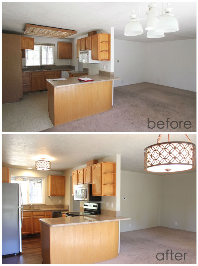 Quartz Kitchen Dining Before and After
