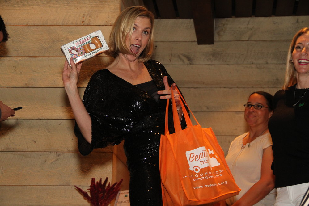 Ellen Krissman and swag bag.JPG