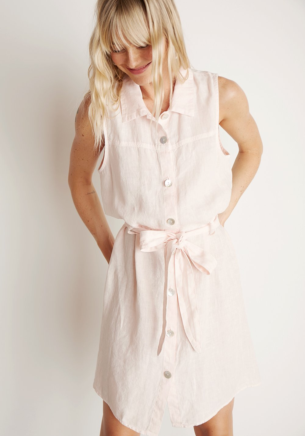 Short Sleeve Shirt Dress - This breezy linen dress makes an instant outfit. Add a sunhat and a pair of wedges for a coastal chic look.