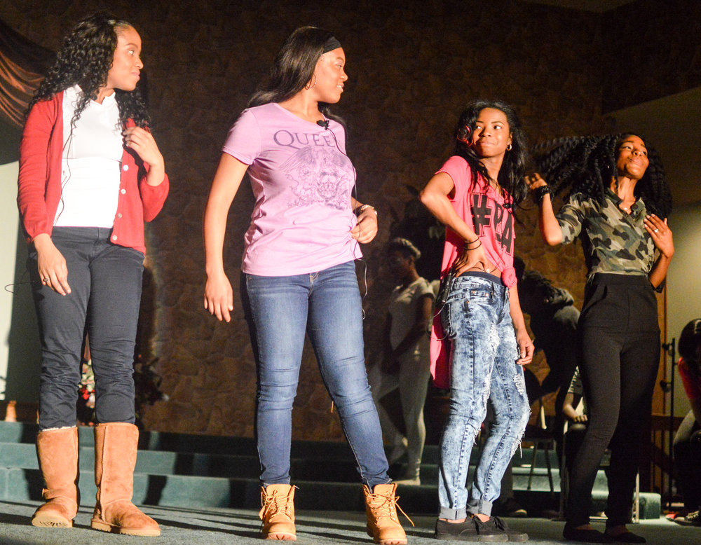 fab 4 at rehearsing at high school talent show