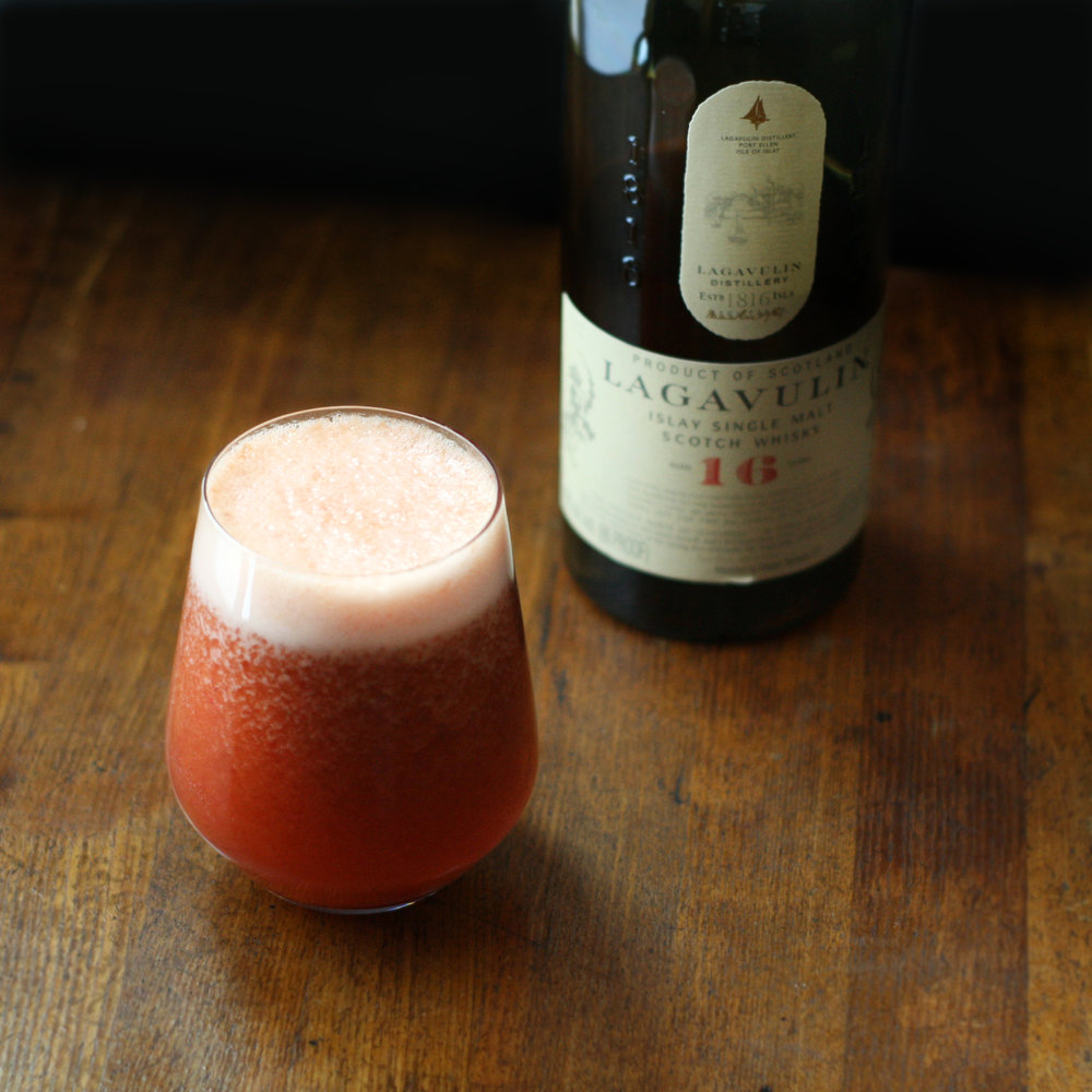 Lagavulin Cocktail - frozen strawberry, turmeric, tea, scotch whisky cocktail - Spiced Smoke and Berries