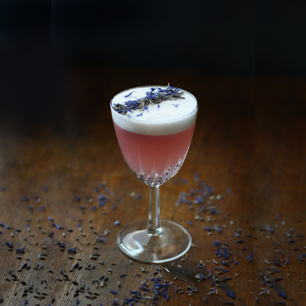 The Garden - a lavender, cornflower, hibiscus and coconut rum low ABV cocktail